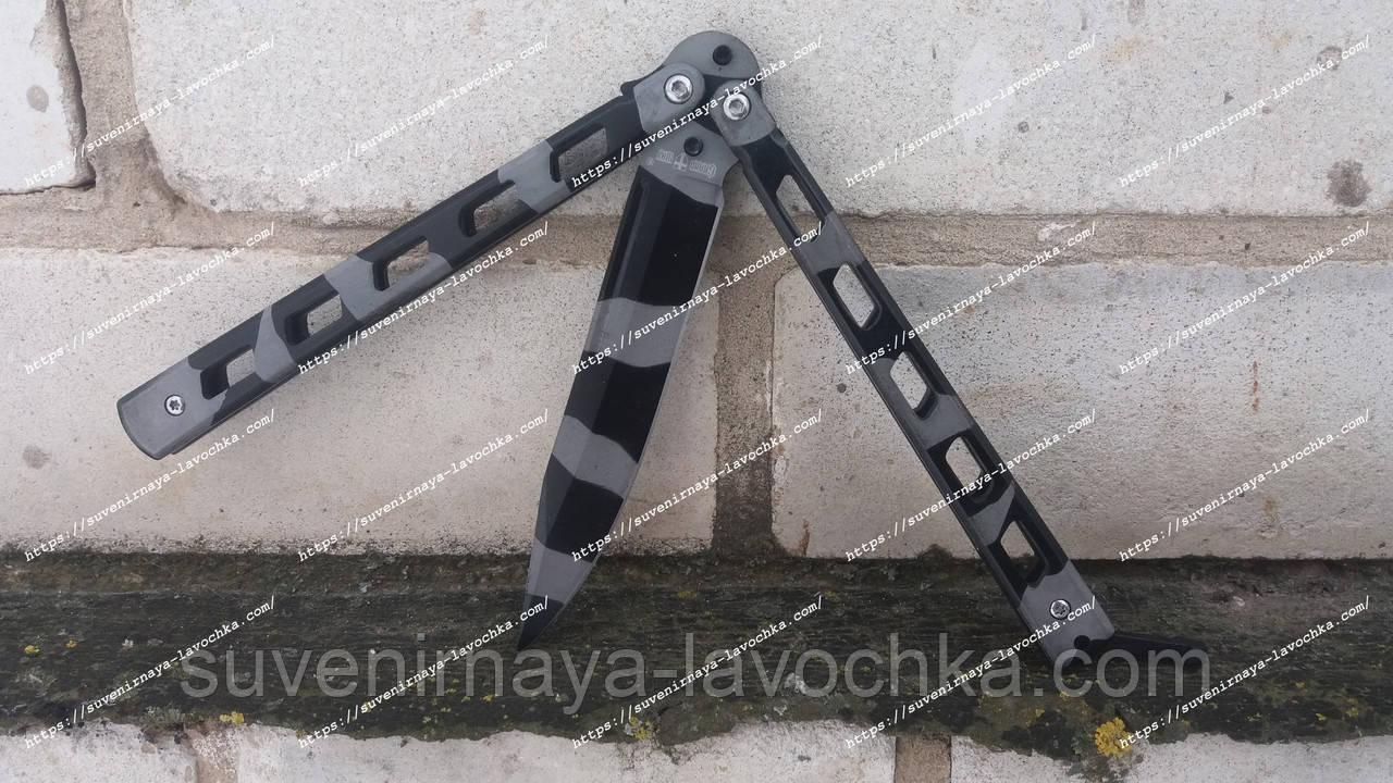 Нож-балисонг Camo Black, черно белый камуфляж