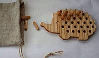 Деревянная игрушка Ёжик для развития мелкой моторики