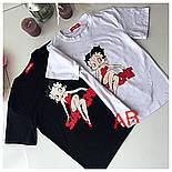 Женская стильная футболка х/б с накаткой (2 цвета), фото 5