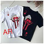 Женская стильная футболка х/б с накаткой (2 цвета), фото 3