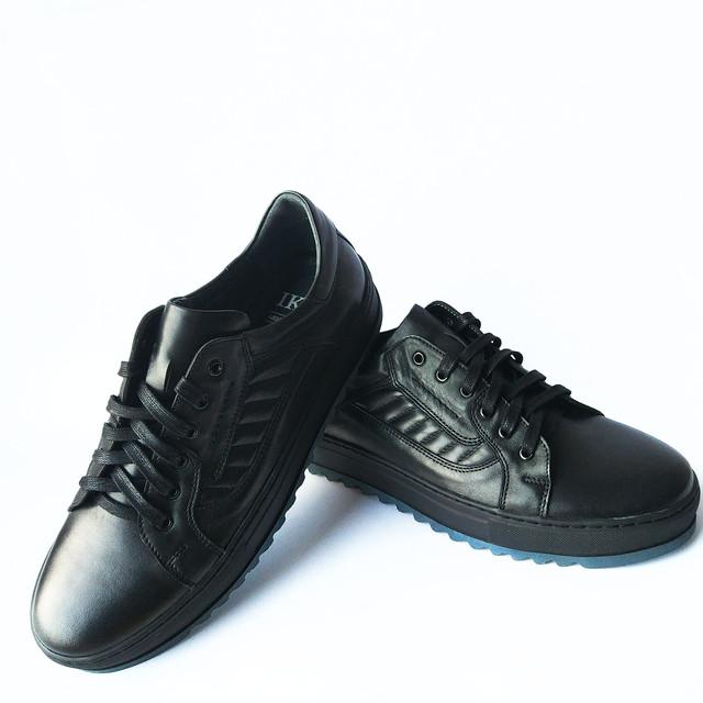 Кожаная повседневная мужская обувь Ікос черные туфли ортопедические на шнуровке