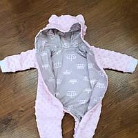 Человечек для новорожденных — розовый с коронами
