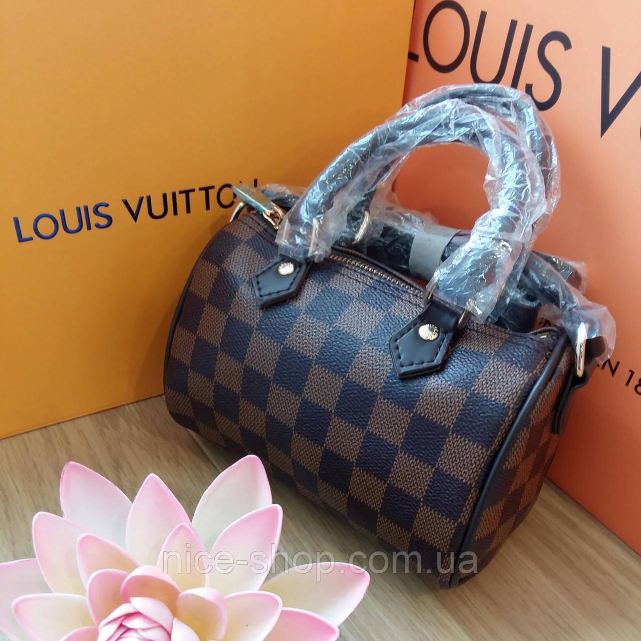 Сумка Люкс-реплика Louis Vuitton Speedy Micro,коричневая клетка