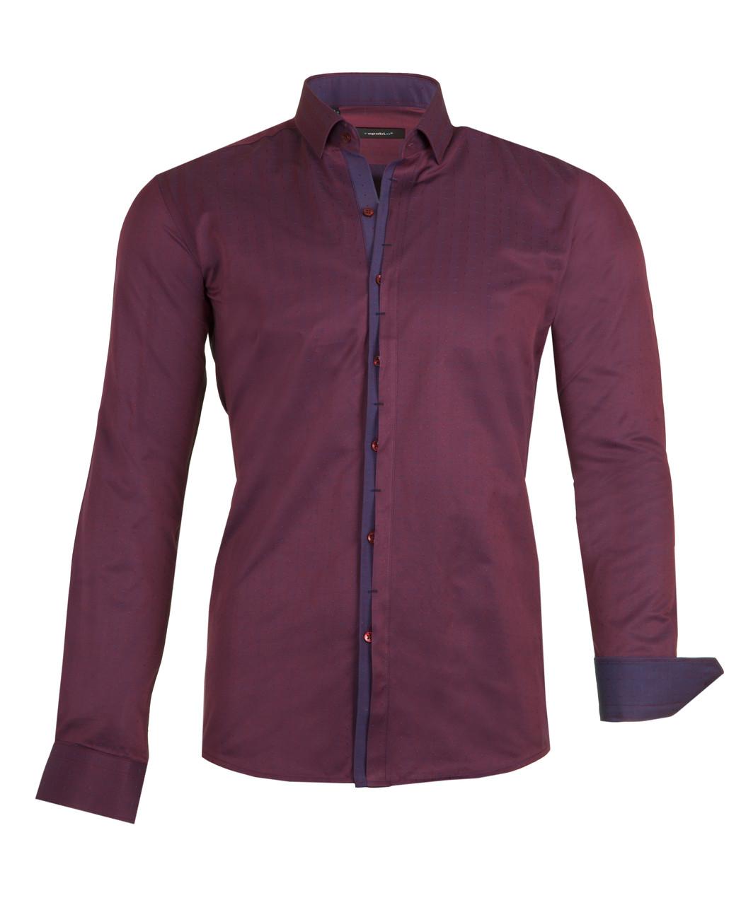Рубашка мужская BORDO бордовая с узором