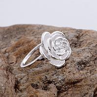 Кольцо женское Цветок покрытие серебро р 18