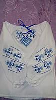 Вышиванка белая красивая в голубых тонах для девочки