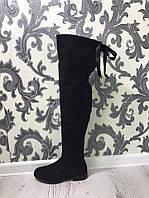Высокие демисезонные сапоги на низком каблуке черного цвета.Материал эко замш.Р-р 36-40.