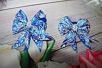 """Американские бантики на резинке """"Синий бант"""" для волос. Ручная работа. Hand Made."""