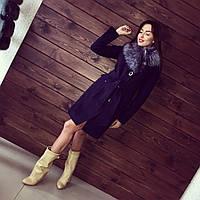 Женское кашемировое теплое пальто на синтепоне с отстегивающимся мехом АБ 0304