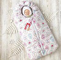 Зимний конверт кокон для новорожденного на выписку, в коляску белый Кексик (на овчине)