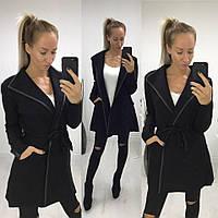Женское пальто-тренч из трикотажа с поясом. Ткань: трикотаж. Размер: универсальный 42-46. Цвет: черный, бордо.