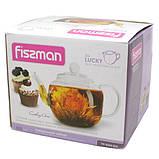 Чайник для заваривания Fissman LUCKY 0.8 л (Боросиликатное стекло, стальной фильтр), фото 2