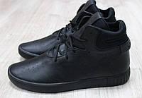 Кроссовки мужские кожаные высокие черные, фото 1
