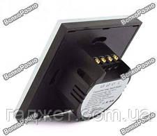 Сенсорный выключатель черного цвета с подсветкой и дистанционным пультом RF433: закаленное стекло, фото 3