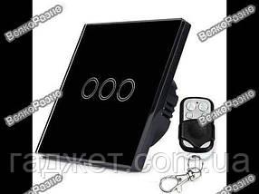 Сенсорный выключатель черного цвета с подсветкой и дистанционным пультом RF433: закаленное стекло