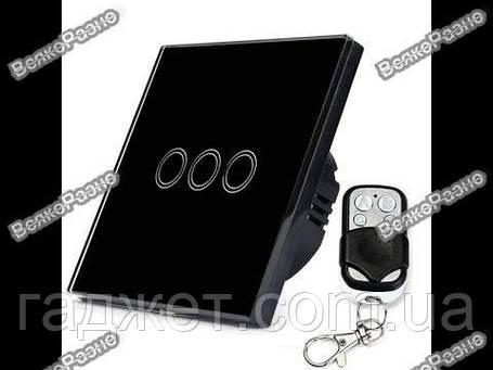 Сенсорный выключатель черного цвета с подсветкой и дистанционным пультом RF433: закаленное стекло, фото 2