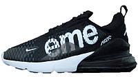 Мужские кроссовки Supreme x NikeAir Max 270 (в стиле Найк Аир Макс Суприм) черные
