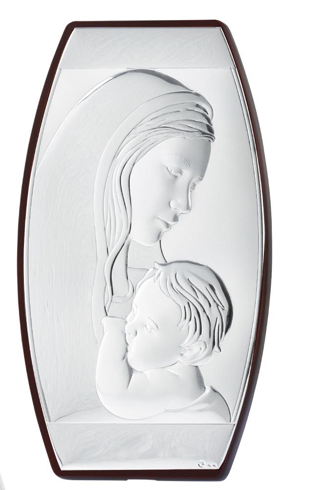 """Икона серебряная """"Мария с младенцем"""" в католическом стиле 260х450 мм"""
