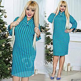 Платье больших размеров  48+ свободного кроя с принтом, рукав летучая мишь с подворотом рт 577-52/41