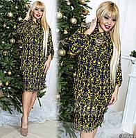 Платье больших размеров  48+ свободного кроя с принтом, рукав летучая мишь с подворотом рт 577-55/41