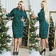 Платье больших размеров  48+ свободного кроя с принтом, рукав летучая мишь с подворотом рт 577-56/41