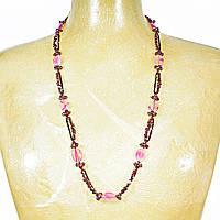 """Бусы """"чешское стекло"""" бусины сиреневого цвета и розовый агат овальной формы, длина 90см Код: 653657893"""