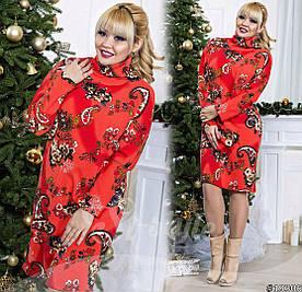 Платье больших размеров  48+ из теплого трикотажа ангоры с принтом, рукав летучая мышь арт 579-57/41