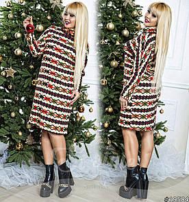 Платье больших размеров  48+ из теплого трикотажа ангоры с принтом, рукав летучая мышь арт 579-61/41