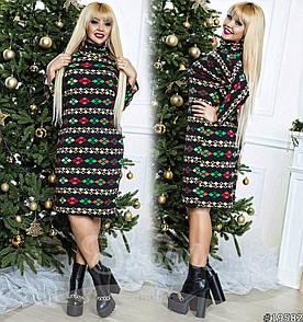 Платье больших размеров  48+ из теплого трикотажа ангоры с принтом, рукав летучая мышь арт 579-62/41