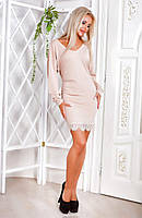 Бежевое женское платье из вискозы с отделкой понизу из гипюра. Арт-6153/91