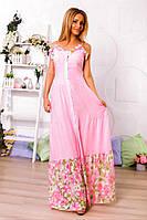 Розовый летний легкий женский сарафан с отделкой из органзы на пуговицах. Арт-6162/91