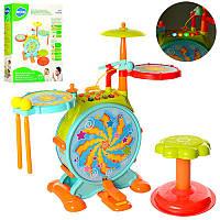 Детская Барабанная установка 666, стульчик, микрофон, муз, свет, звук, палочки