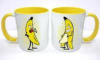 """Парные кружки, цветные внутри """"Бананы"""""""