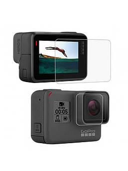 Защитное стекло для GoPro Hero 5, 6, 7 black (на дисплей и объектив)(код № XTGP350B)