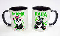 """Парные кружки, цветные внутри """"Панда мама и панда папа"""""""
