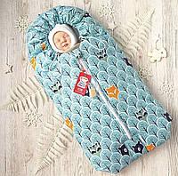 Весенний конверт кокон для новорожденного на выписку, в коляску бирюзовый Зверята в лесу