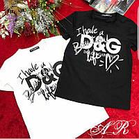 "Женская стильная футболка х/б с накаткой ""DG"" (2 цвета), фото 1"