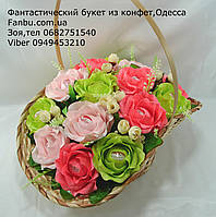 "Корзина ярких роз из конфет raffaello""Цветочный Рай""№15, фото 1"