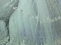 Кремовый тюль с плотной вышивкой, оптом, фото 1