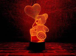 """3D Светильник """"Мишка с шариком"""""""