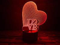 """3D Светильник """"Сердце LOVE"""", фото 1"""
