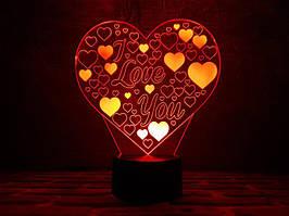 """3D Светильник """"Люблю тебя"""""""