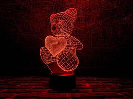 """3D Светильник """"Мишка с сердцем"""""""