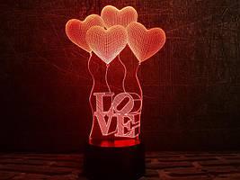 "3D Светильник ""Сердечки LOVE"""