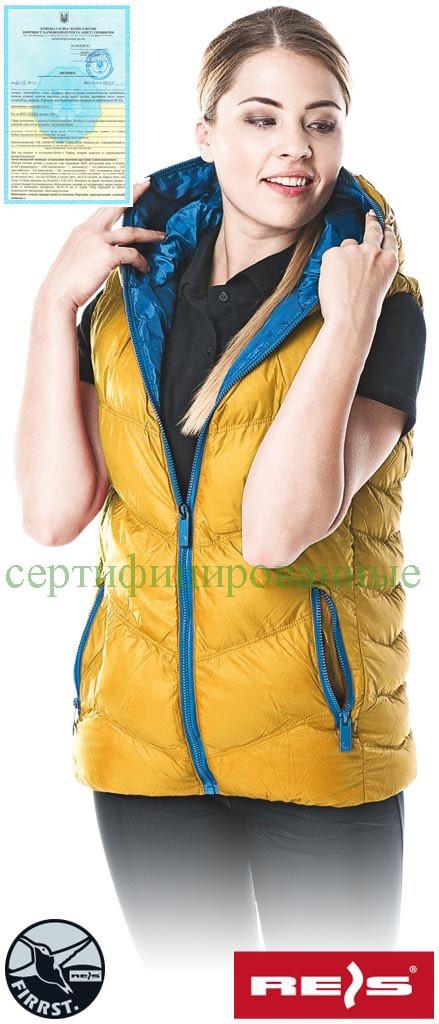 Безрукавка утепленная женская желтая Reis Польша (спецодежда рабочая) BUTTERFLY Y