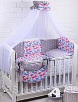 """Детский постельный комплект Asik из 8 эл.""""Фламинго"""" № 279, серый, фото 1"""