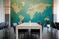 "3D фотообои ""Карта мира на голубом фоне"""