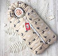 Зимний конверт кокон для новорожденного на выписку, в коляску бежевый лошадки Феррари (на овчине)