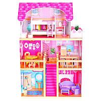 Кукольный домик для барби+16 елем.мебели+2куклы в подарок