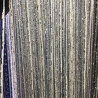 Шторы-нити кисея люрекс радуга 3мх3м светло-серый с белым
